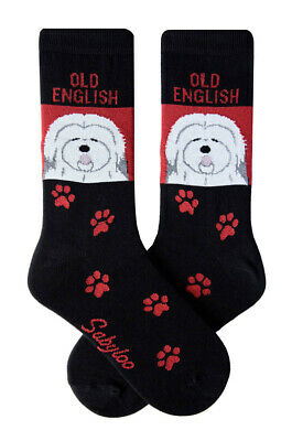 Old English Sheepdog Socks Lightweight Cotton Crew Stretch Red