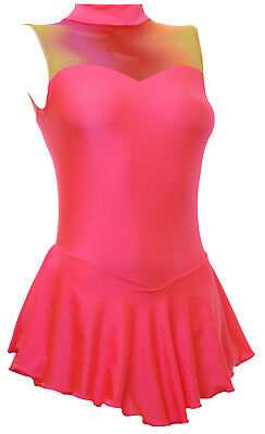 Skating Dress -CORAL LYCRA/MESH -SHORT SLEEVE  ALL SIZES AVAILABLE