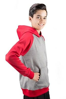 (Large, Scarlet) - Covalent Activewear Youth Ringer Hoody. Delivery is Free