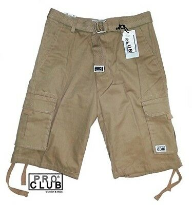 (48) - Pro Club Men's TWILL CARGO SHORT PANTS - Khaki. Best Price