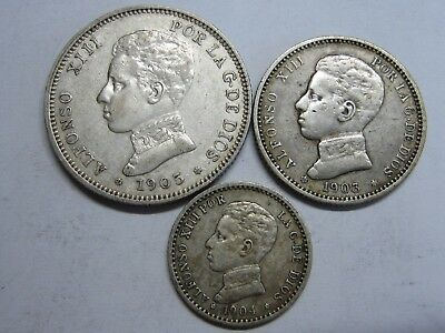 1903 1904 1905 Spain Alfonso Xiii 50 Cent+1+2 Pesetas Lot 3 Coin Silver Rare .