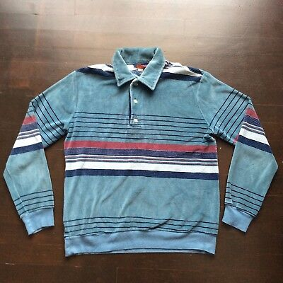 Vintage Tower Road Velour Striped Long Sleeve Shirt Mens Med Fits Like A Small