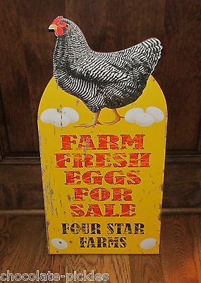 Large CHICKEN SIGN*Farm Fresh Eggs*Primitive/French Country Farmhouse Decor