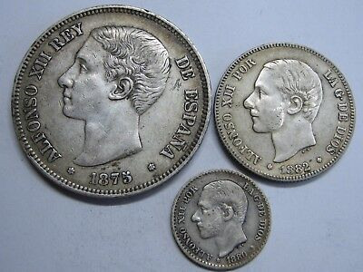 1875 - 1882 Spain Alfonso Xii 50 Cent+2+ 5 Pesetas Lot 3 Coin Silver Rare