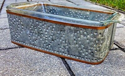 Vintage punched tin and copper casserole dish stand rest and glass casserole