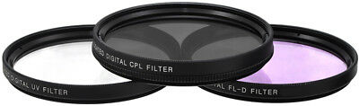 58mm 3 Piece Multi-Coated HD Digital Lens Glass Protector Filter Kit UV CPL FLD