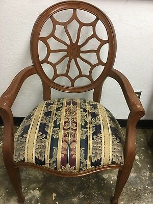 French Louis XVI Style Gilt Arm Chair with a Carved Oval Back antique art old