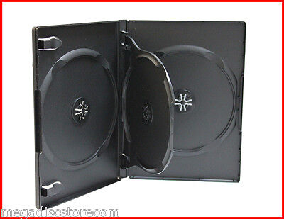 NEW! 5 Pk 14mm Quad 4 Tray DVD CD Movie Game Case Black Multi 4 Disc with Flip