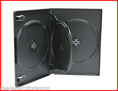 NEW! 3 Pk 14mm Quad 4 Tray DVD CD Movie Game Case Black Multi 4 Disc with Flip