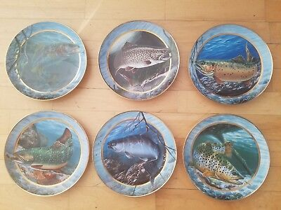 (6) Field & Stream Franklin Mint Trout Plates Signed Numbered Scharle & McGovern