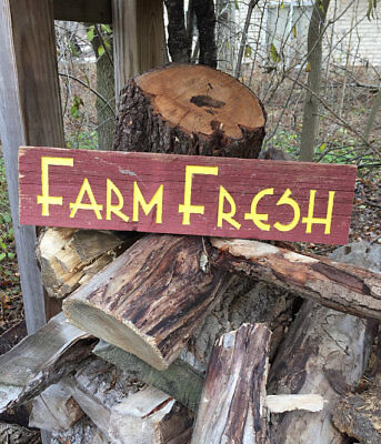 "Barnwood sign Rustic ""Farm Fresh"" Hand painted"
