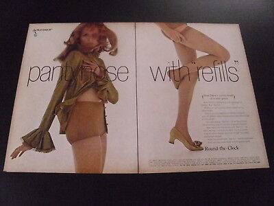 """1969 ROUND THE CLOCK Pantyhose with """"Refills"""" 2 page magazine ad Hosiery Collant"""