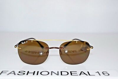 64b8bdbd6b4 Ray-Ban LightRay Matte Gold Brown Polarized RB4280 6287 83 55mm Sunglasses