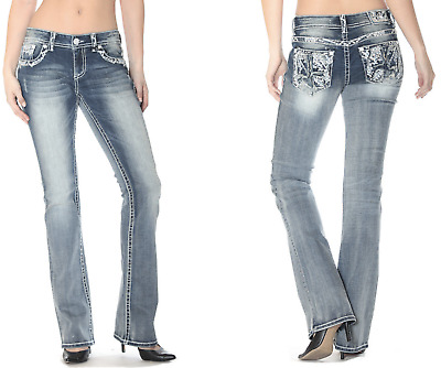 GRACE IN LA Boot Low Rise Embroidered Bootcut Jeans 25 26 27 28 29 30 31 NWT