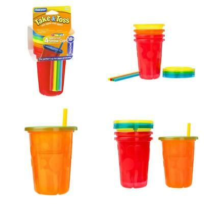4 Pack Spill-Proof Plastic Cups Tumbler Lids Straws Sippy Baby Toddler Kids New