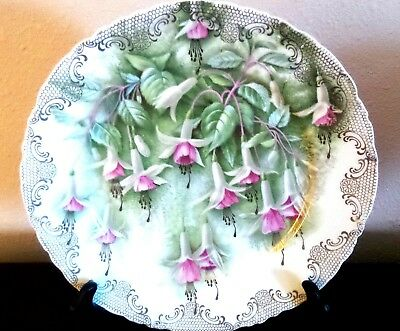 Antique Vesailles Bavaria R.C. Crown China Rosenthal Co. Fuchsia Flowers Plate