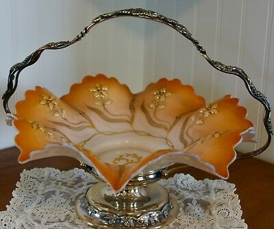 Victorian Brides Basket Ruffled Blown Glass Bowl Eureka Silver-plate Holder