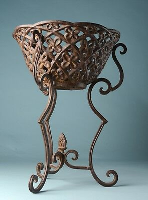 "17"" decorative vintage cast iron plant stand"
