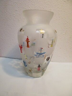 Lenox Vase Glass Beach Sea Ocean Nautical Lighthouse Frosted Art Hand Painted