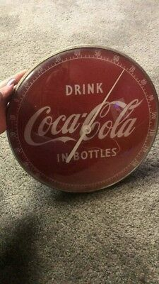 "Original 1950's Drink Coca Cola In Bottles 12"" Round Glass Face Thermometer Usa"