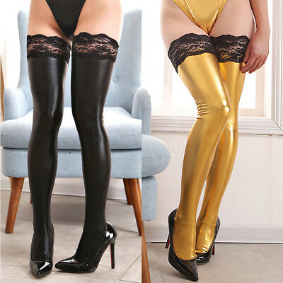 Women Leather Wet Look Lace Long Stockings Above Knee Shiny Thigh High Socks