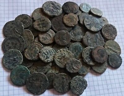 Lot of 70 Uncleaned Ancient Roman Coins,  MEDIUM QUALITY 170 Grams!