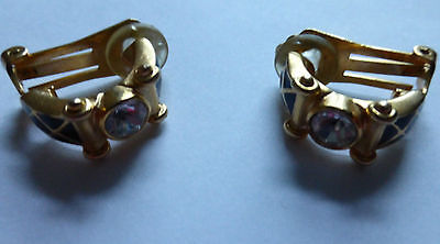 Vintage Designer Clip On Earrings Piadoro Signed Black Enamel And Clear Crystal