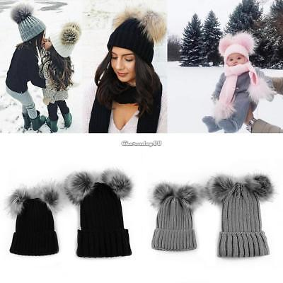 Mom&Newborn Baby Boy Girl Winter Warm Double Fur Pom Bobble Knit Beanie Hat Cap^