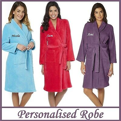 PERSONALISED Womens Ladies Super Soft Dressing Gown Robe Bathrobe - GIFT PRESENT