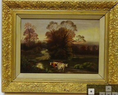 Early 20th Century Antique Oil On Canvas Cattle In River Landscape Signed Art
