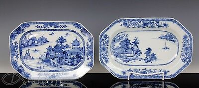 Lot Of Two Finely Painted 18C Chinese Export Blue White Porcelain Platters