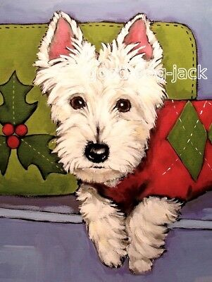 "West Highland Terrier ACEO WESTIE PRINT Painting ""Christmas Sweater"" Dog RANDALL"