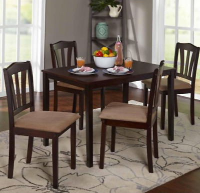 Dining Table Set Upholstered Wood Chairs 5 Piece Wooden Kitchen Room Furniture