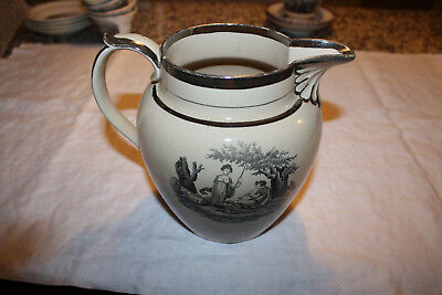 Antique Early 19th Century Sunderland Type Luster Pitcher With Black Transfer