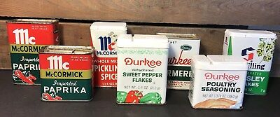 Lot Of 7 VTG Spice Tins~McCormick Durkee Schilling~Cupboard Pantry Kitchenware