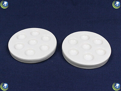 2x Dental Porcelain Mixing Ceramic Watering Wet Tray Palette & Lid 7 Round Holes