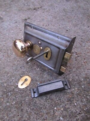 Salvaged 1930 Door Rim Lock Brass Handle Keep Key Registered Union Wolverhampton
