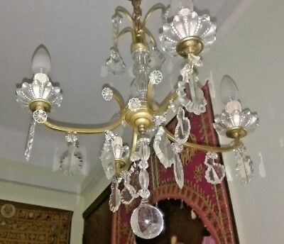 antique french chandelier gold bronze crystal pampilles 4 lights 19th empire