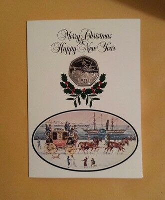 Isle Of Man 1980 Christmas Card With 50p Christmas Coin Coach And Horses