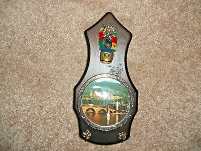 Vintage Key Caddy Plaque with Swiss Bell Attached