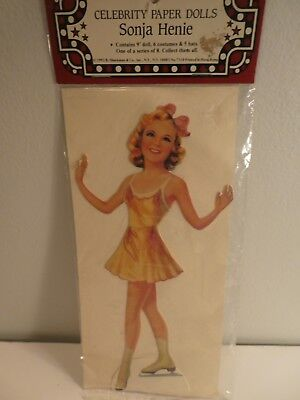 "Vintage 9""  HOLLYWOOD Celebrity SONJA HENIE 40's Cutout Paper Doll Set UNOPENED"