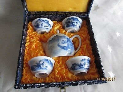 Vintage Boxed Blue & white Hand Painted Porcelain Chinese Tea Set