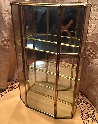 Vintage Brass And Glass Curio Display Case (Hang Or Stand). Lovely Condition