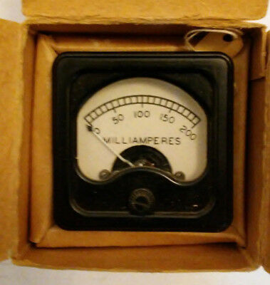 "10 mA vintage analog panel meter Burlington 2.375"" Square ammeter"