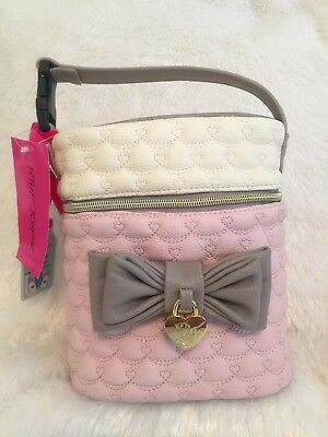 Betsey Johnson Quilted Hearts Insulated Baby Bottle Holder NWT