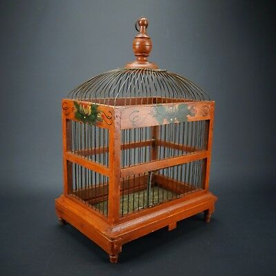 """Vintage Antique Hand Painted Wood & Wire Dome Hanging Bird Cage 12""""x17""""x8.5"""""""