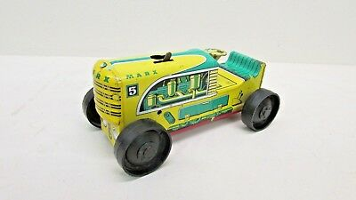 Vintage 1950's Marx MAR Wind-Up Yellow / Green Tin Tractor No. 5