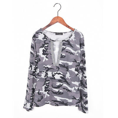 Sexy Women V-Neck Lace Up Camo T-Shirt Long Sleeve Casual Loose Blouse ShirtBIUJ