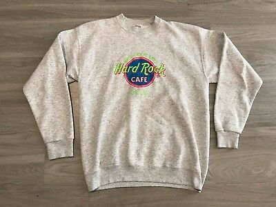 Mens Vintage Hard Rock Cafe Size XL Save The Planet Dallas Tx Sweater Gray