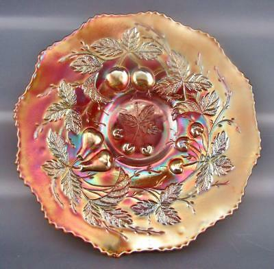 Carnival Glass - Fenton THREE FRUITS Antique Marigold 12-Sided Plate 2688